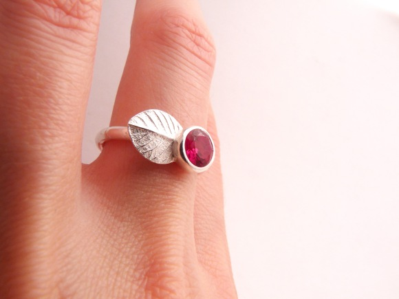 Silver Berry Ring, With Ruby